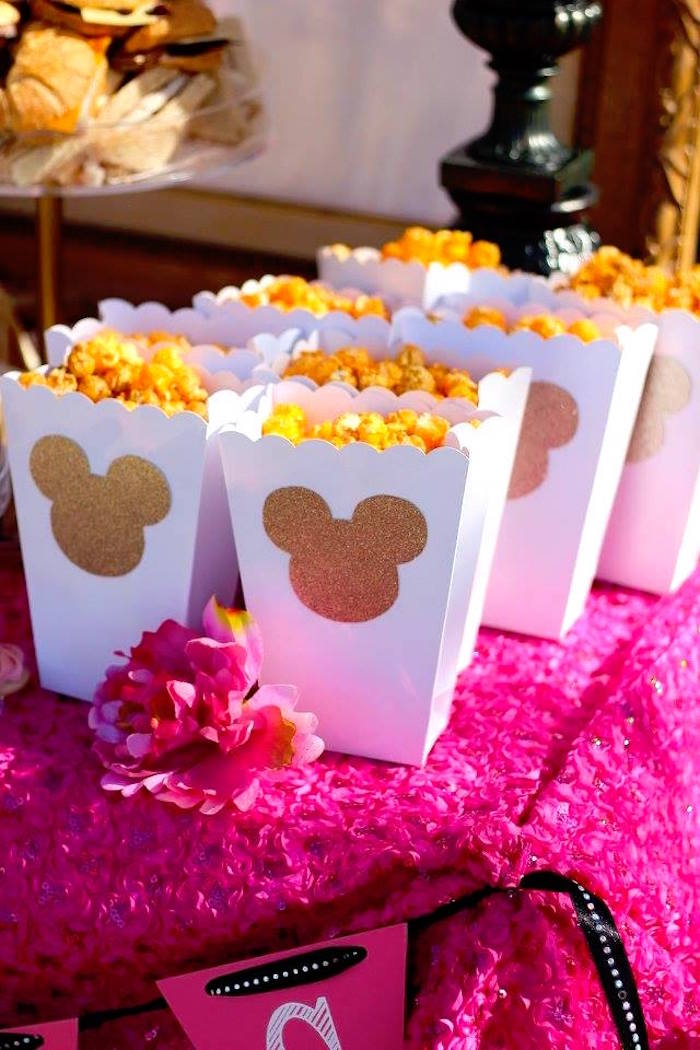 """Minnie Mouse popcorn boxes from a Minnie Mouse """"Oh TWO-dles"""" 2nd Birthday Tea Party on Kara's Party Ideas 