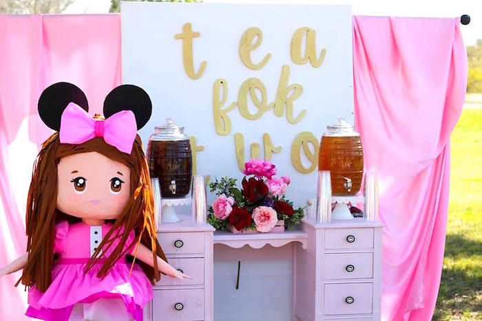 """Beverage table + pinata girl from a Minnie Mouse """"Oh TWO-dles"""" 2nd Birthday Tea Party on Kara's Party Ideas 