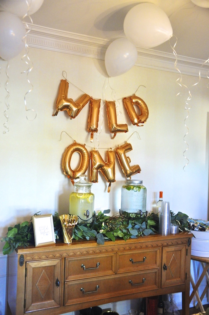 """Wild One"" beverage table from a Minnie Mouse Inspired ""Wild One"" Birthday Party on Kara's Party Ideas 