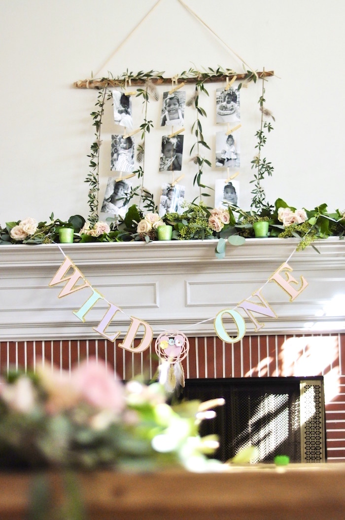 "Greenery + decor from a Minnie Mouse Inspired ""Wild One"" Birthday Party on Kara's Party Ideas 