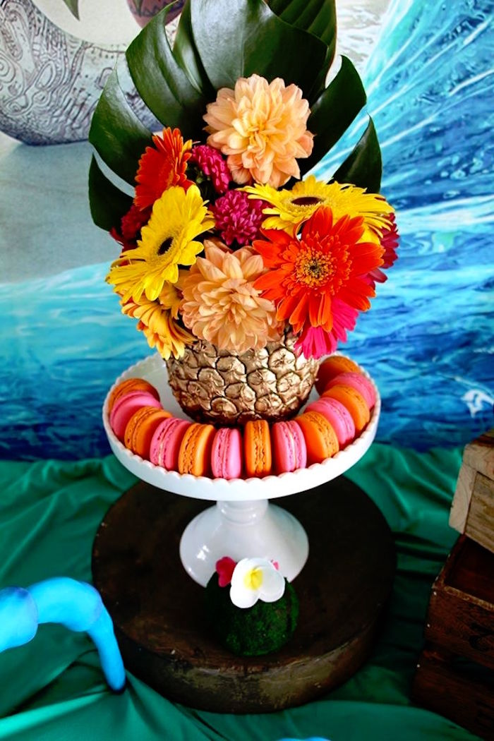 Pineapple floral arrangement + macarons from a Moana Birthday Party on Kara's Party Ideas | KarasPartyIdeas.com (12)