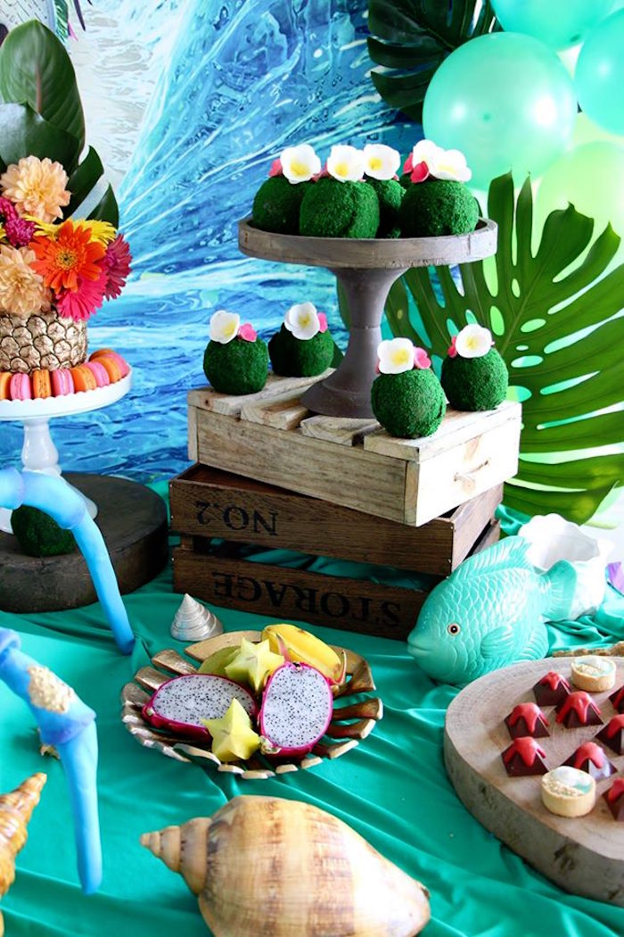 Table details from a Moana Birthday Party on Kara's Party Ideas | KarasPartyIdeas.com (20)