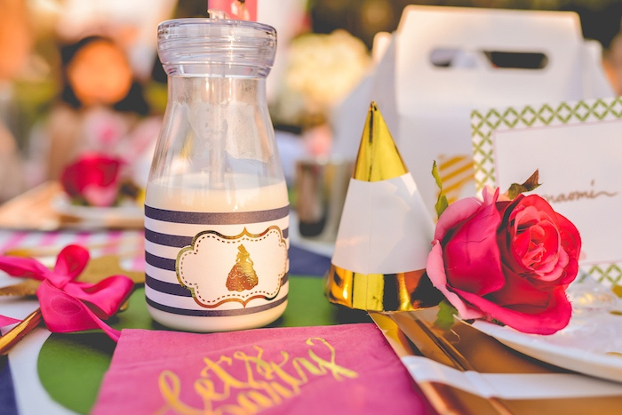 Milk bottle with screwable lid from a Modern Boho Princess Birthday Party on Kara's Party Ideas | KaraPartyIdeas.com (5)