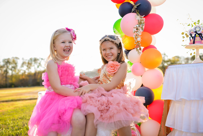 Glam girls + balloon bunting from a Modern Boho Princess Birthday Party on Kara's Party Ideas | KaraPartyIdeas.com (14)