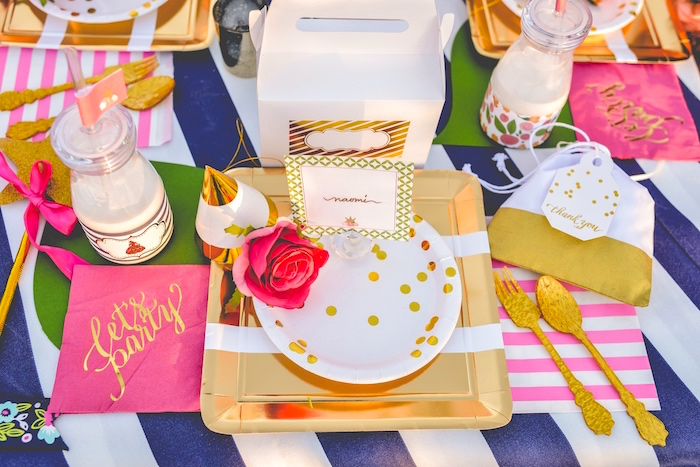 Glam place setting from a Modern Boho Princess Birthday Party on Kara's Party Ideas | KaraPartyIdeas.com (6)