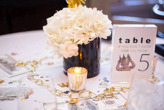 Guest table decor from a Notorious B.I.G First Birthday Party on Kara's Party Ideas | KarasPartyIdeas.com (35)