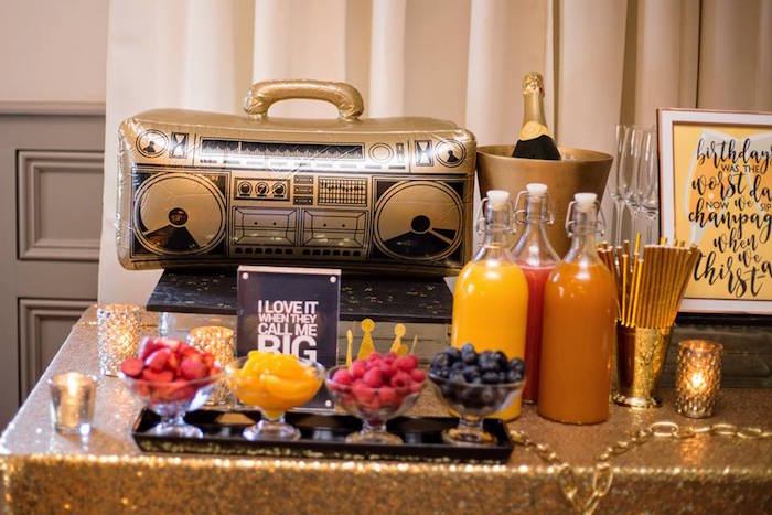 Drink bar from a Notorious B.I.G First Birthday Party on Kara's Party Ideas | KarasPartyIdeas.com (29)