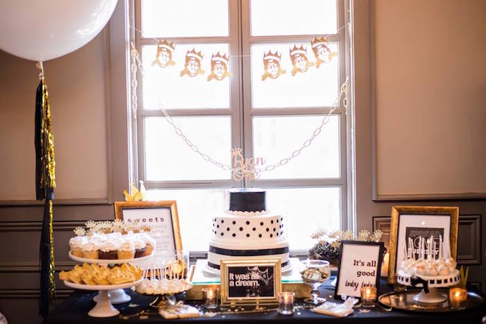 Cake table from a Notorious B.I.G First Birthday Party on Kara's Party Ideas | KarasPartyIdeas.com (23)