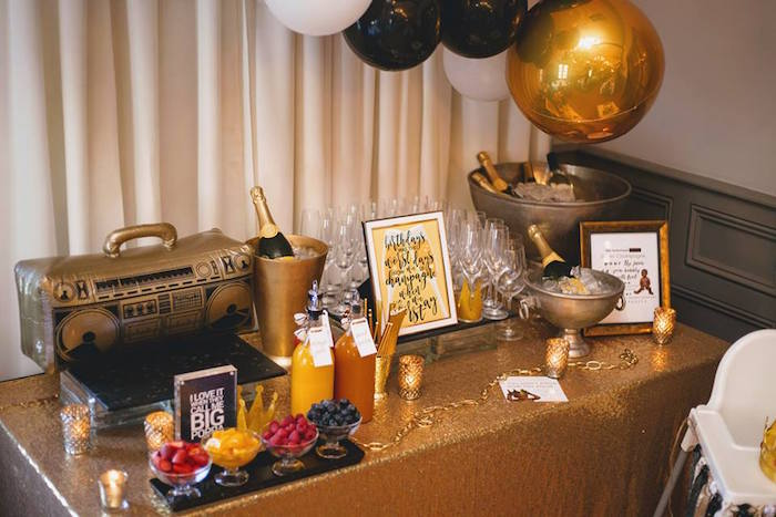 Beverage bar from a Notorious B.I.G First Birthday Party on Kara's Party Ideas | KarasPartyIdeas.com (22)