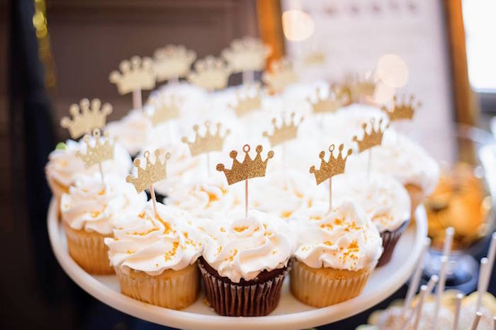 Cupcakes with crown toppers from a Notorious B.I.G First Birthday Party on Kara's Party Ideas | KarasPartyIdeas.com (20)