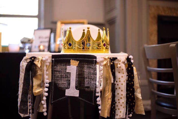Highchair bunting from a Notorious B.I.G First Birthday Party on Kara's Party Ideas | KarasPartyIdeas.com (18)