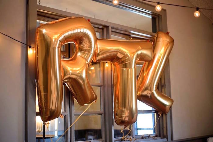 Mylar balloon banner from a Notorious B.I.G First Birthday Party on Kara's Party Ideas | KarasPartyIdeas.com (15)