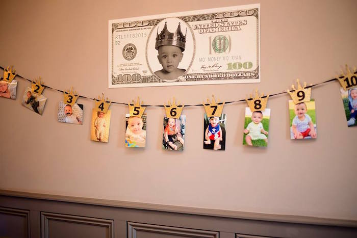 First-year photo banner + money sign from a Notorious B.I.G First Birthday Party on Kara's Party Ideas | KarasPartyIdeas.com (12)