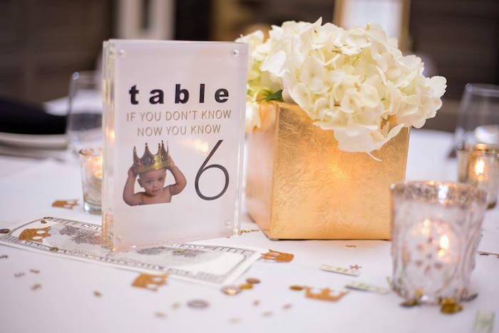 Printed table number from a Notorious B.I.G First Birthday Party on Kara's Party Ideas | KarasPartyIdeas.com (9)