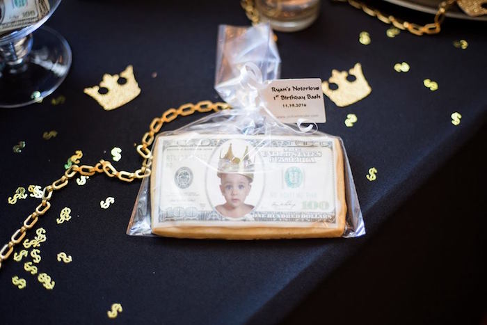 Money cookie favor from a Notorious B.I.G First Birthday Party on Kara's Party Ideas | KarasPartyIdeas.com (6)