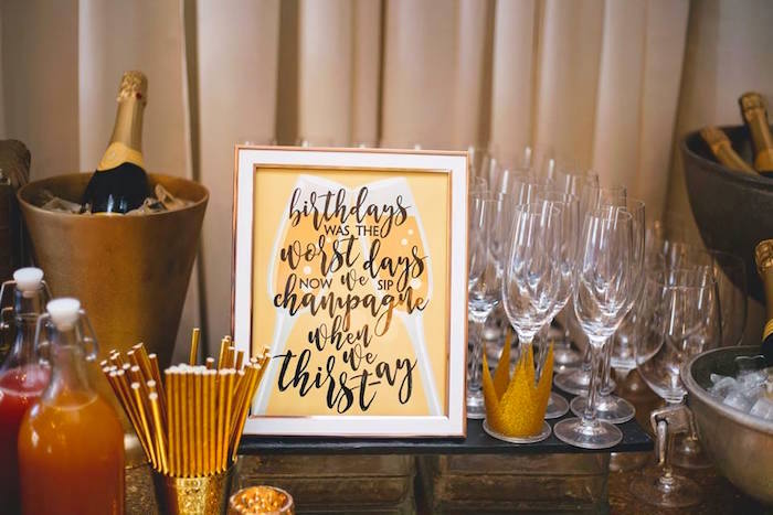 Beverage bar from a Notorious B.I.G First Birthday Party on Kara's Party Ideas | KarasPartyIdeas.com (41)