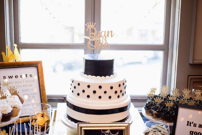 Black and white cake from a Notorious B.I.G First Birthday Party on Kara's Party Ideas | KarasPartyIdeas.com (40)