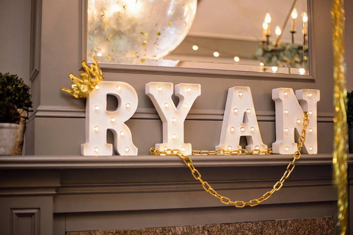 Marquee letter name banner from a Notorious B.I.G First Birthday Party on Kara's Party Ideas | KarasPartyIdeas.com (36)