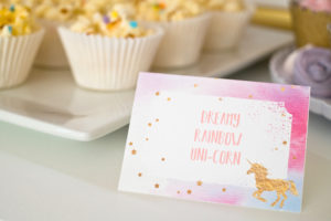 Unicorn themed dessert label from a Pastel & Gold Unicorn Party on Kara's Party Ideas | KarasPartyIdeas.com (16)