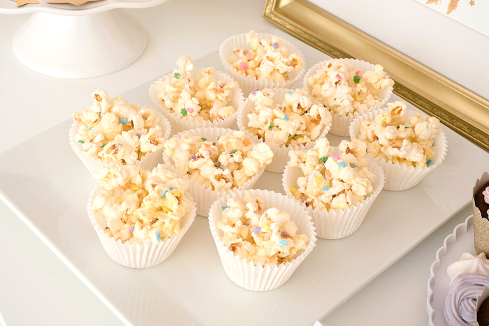Rainbow popcorn from a Pastel & Gold Unicorn Party on Kara's Party Ideas | KarasPartyIdeas.com (12)