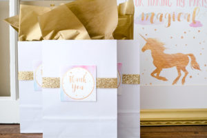Gold accented gift bag from a Pastel & Gold Unicorn Party on Kara's Party Ideas | KarasPartyIdeas.com (11)