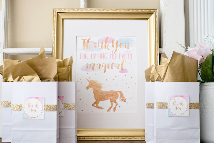 Unicorn favor bags from a Pastel & Gold Unicorn Party on Kara's Party Ideas | KarasPartyIdeas.com (10)