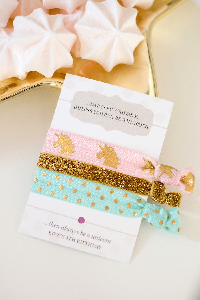 Hair tie favors from a Pastel & Gold Unicorn Party on Kara's Party Ideas | KarasPartyIdeas.com (9)