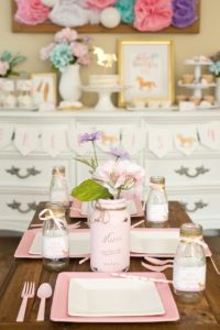Place setting + guest table from a Pastel & Gold Unicorn Party on Kara's Party Ideas | KarasPartyIdeas.com (7)