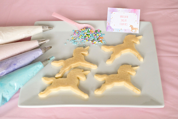 Unicorn sugar cookies to ice from a Pastel & Gold Unicorn Party on Kara's Party Ideas | KarasPartyIdeas.com (4)