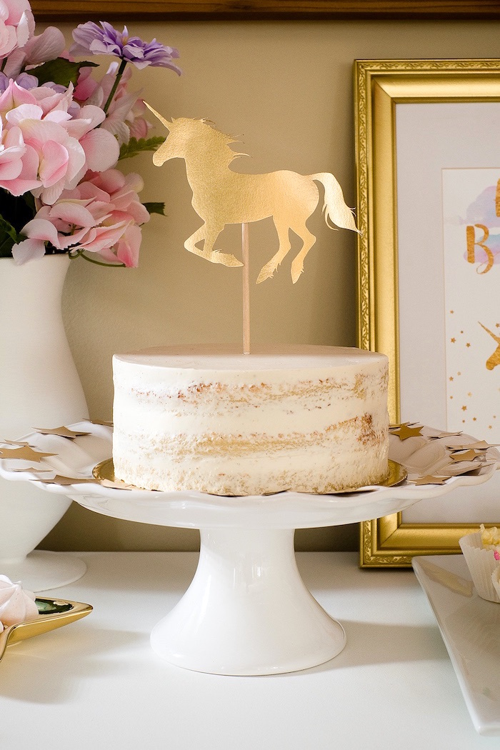 Semi-naked unicorn cake from a Pastel & Gold Unicorn Party on Kara's Party Ideas | KarasPartyIdeas.com (26)