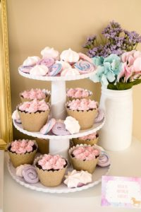 Meringue cookies and cupcakes from a Pastel & Gold Unicorn Party on Kara's Party Ideas | KarasPartyIdeas.com (25)
