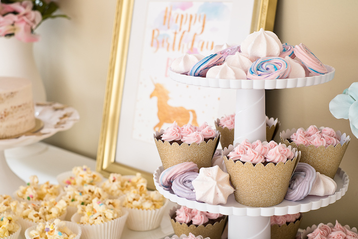 Meringue cookies and cupcakes from a Pastel & Gold Unicorn Party on Kara's Party Ideas | KarasPartyIdeas.com (23)