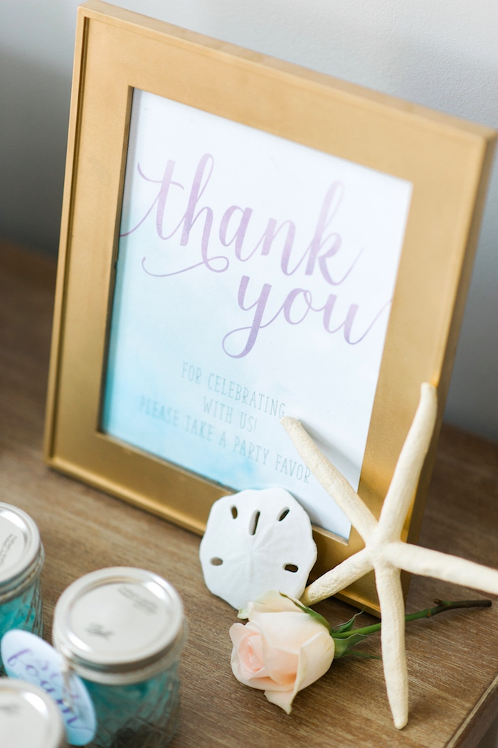 """Thank You"" print from a Pastel Mermaid Birthday Party on Kara's Party Ideas 