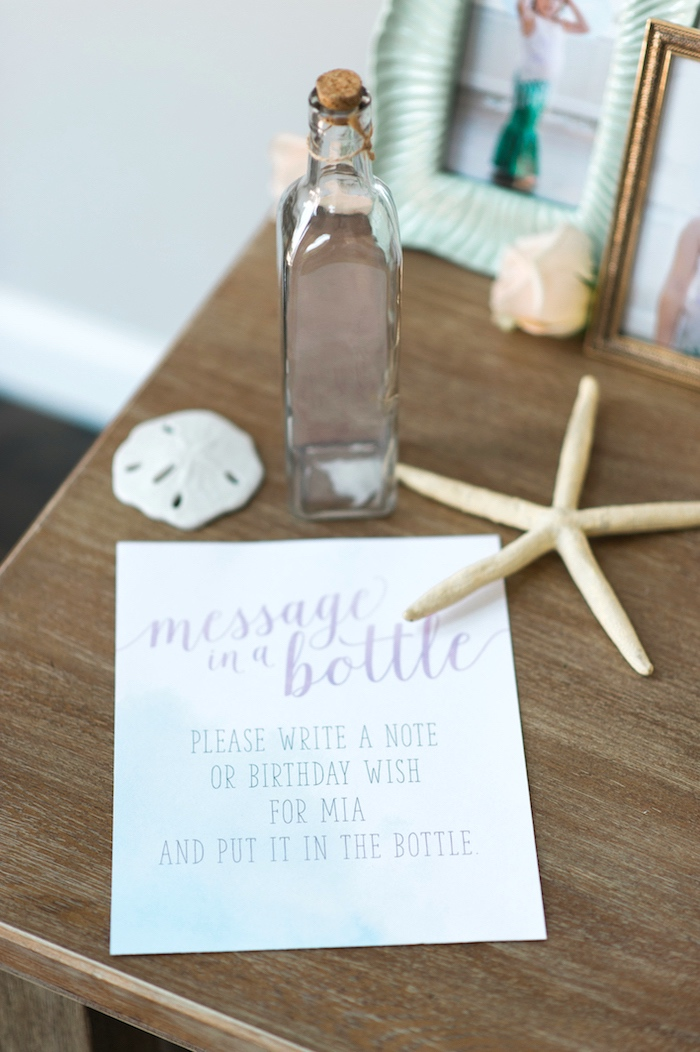 Message in a bottle from a Pastel Mermaid Birthday Party on Kara's Party Ideas | KarasPartyIdeas.com (23)