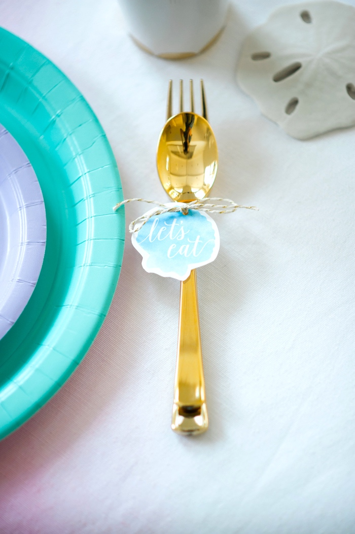 Gold flatware from a Pastel Mermaid Birthday Party on Kara's Party Ideas   KarasPartyIdeas.com (21)