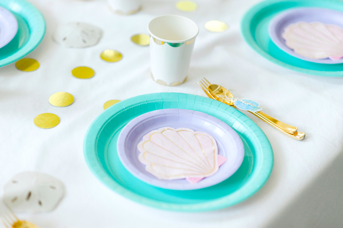 Place setting from a Pastel Mermaid Birthday Party on Kara's Party Ideas   KarasPartyIdeas.com (20)