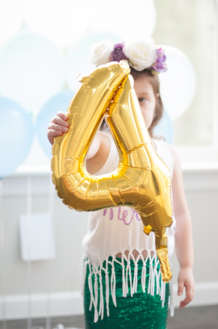 "Gold mylar balloon ""4"" from a Pastel Mermaid Birthday Party on Kara's Party Ideas 