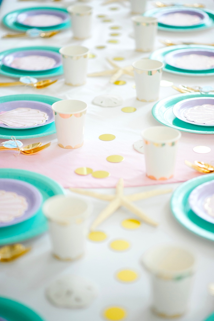 Guest tablescape from a Pastel Mermaid Birthday Party on Kara's Party Ideas | KarasPartyIdeas.com (19)