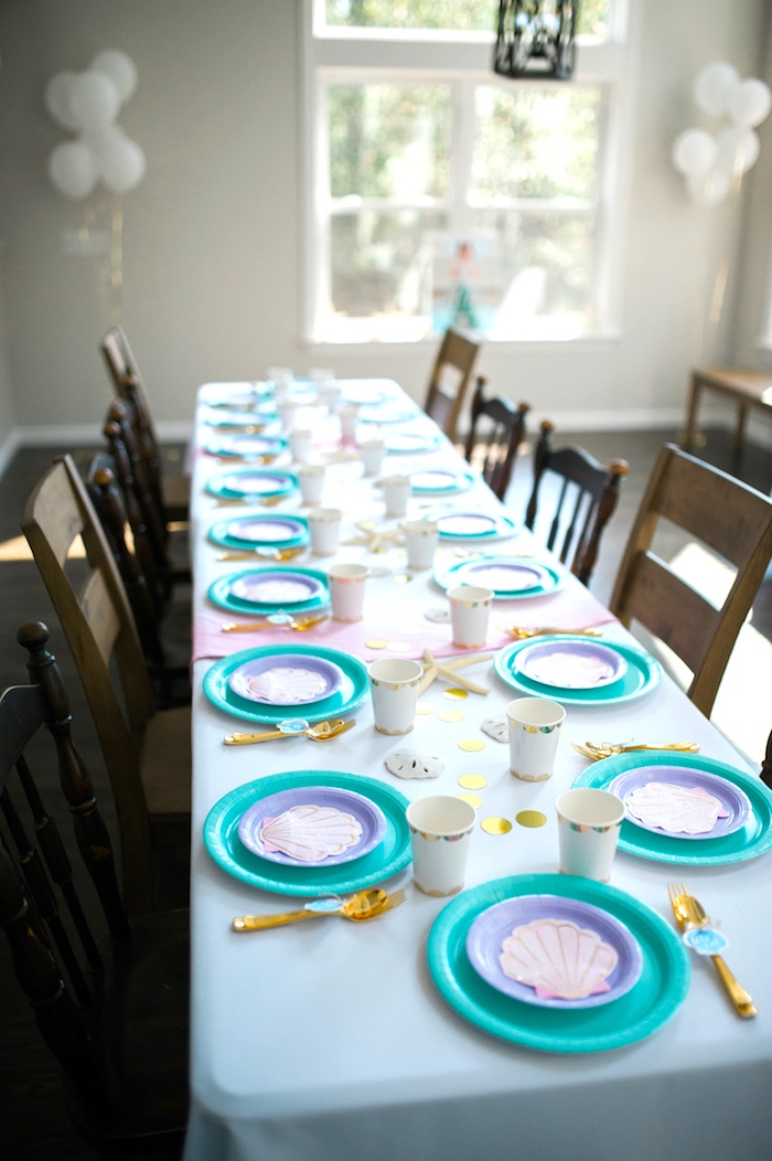Guest table from a Pastel Mermaid Birthday Party on Kara's Party Ideas | KarasPartyIdeas.com (18)