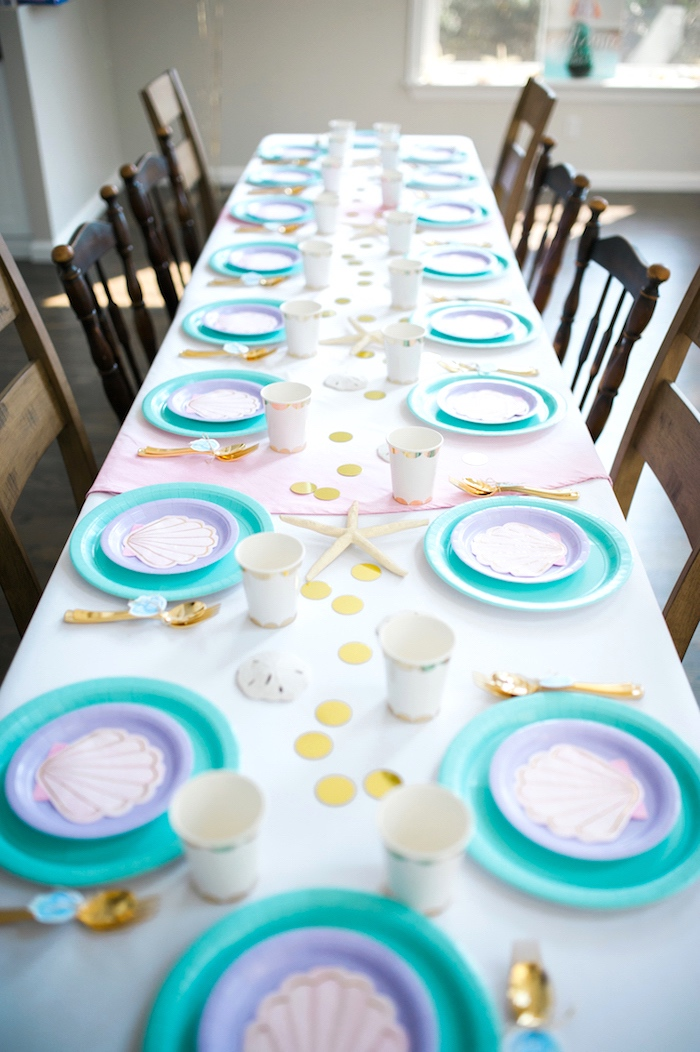 Guest tablescape from a Pastel Mermaid Birthday Party on Kara's Party Ideas | KarasPartyIdeas.com (17)