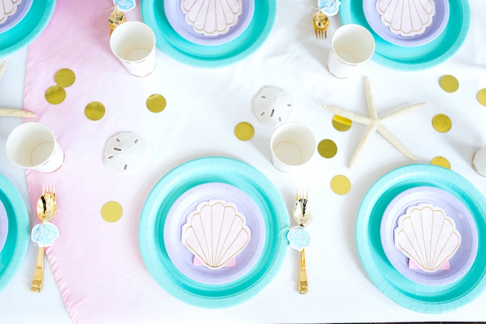 Guest tabletop from a Pastel Mermaid Birthday Party on Kara\u0027s Ideas | KarasPartyIdeas.com