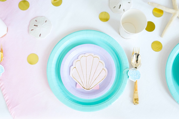 Place setting from a Pastel Mermaid Birthday Party on Kara's Party Ideas | KarasPartyIdeas.com (15)