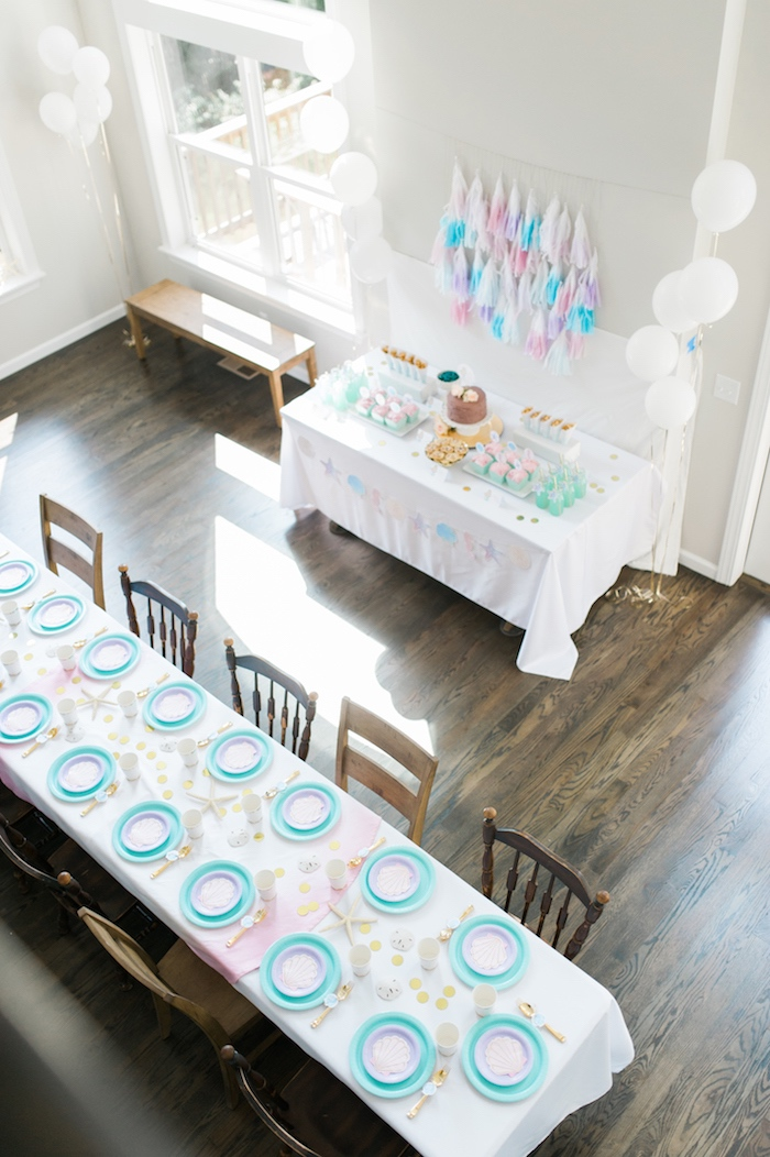 Top-view of party tables from a Pastel Mermaid Birthday Party on Kara's Party Ideas | KarasPartyIdeas.com (13)