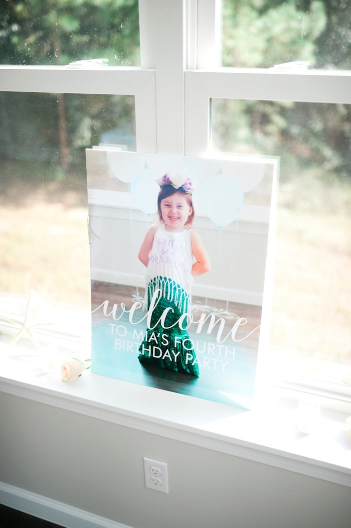 Welcome sign + canvas from a Pastel Mermaid Birthday Party on Kara's Party Ideas | KarasPartyIdeas.com (12)