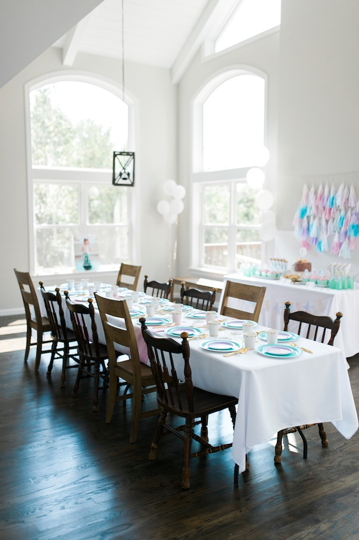 Partyscape from a Pastel Mermaid Birthday Party on Kara's Party Ideas | KarasPartyIdeas.com (11)