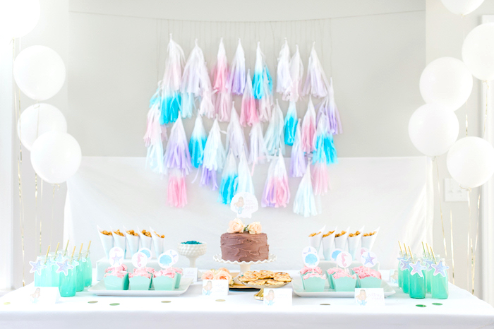 Dessert spread from a Pastel Mermaid Birthday Party on Kara's Party Ideas | KarasPartyIdeas.com (9)