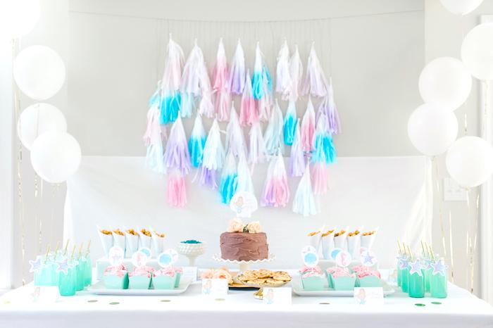 Dessert spread from a Pastel Mermaid Birthday Party on Kara's Party Ideas   KarasPartyIdeas.com (9)