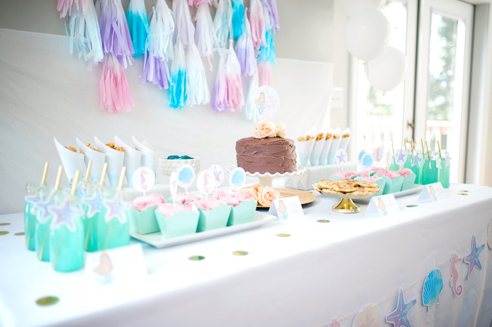 Mermaid party table from a Pastel Mermaid Birthday Party on Kara's Party Ideas | KarasPartyIdeas.com (6)