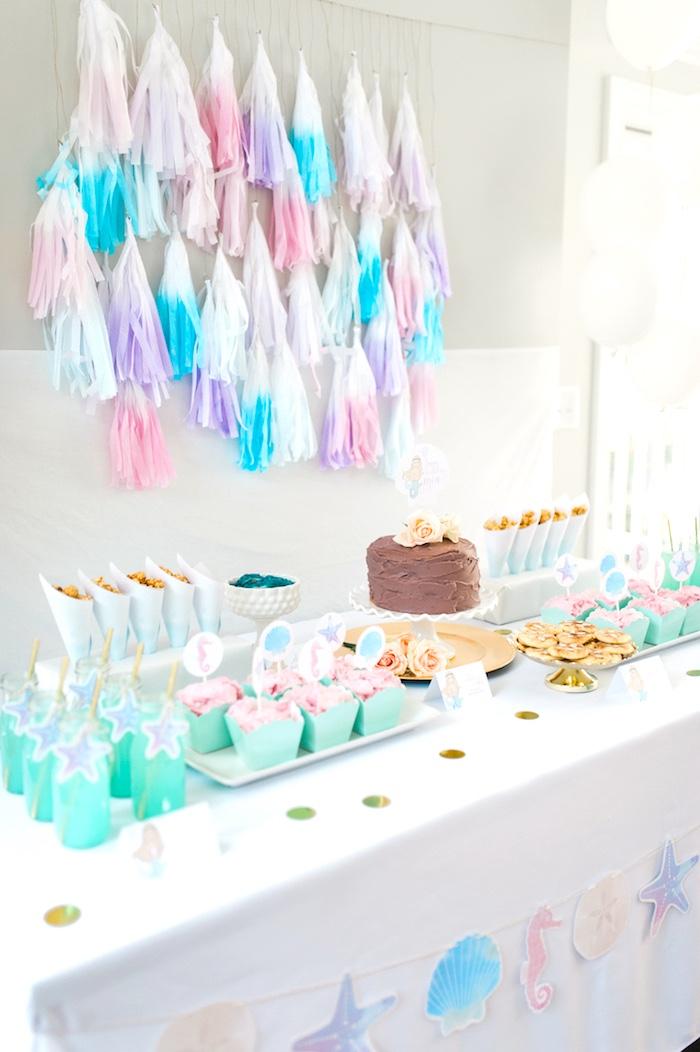 Cake table from a Pastel Mermaid Birthday Party on Kara's Party Ideas   KarasPartyIdeas.com (5)
