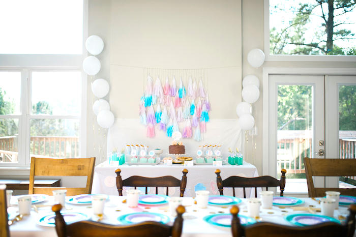Party tables from a Pastel Mermaid Birthday Party on Kara's Party Ideas | KarasPartyIdeas.com (4)
